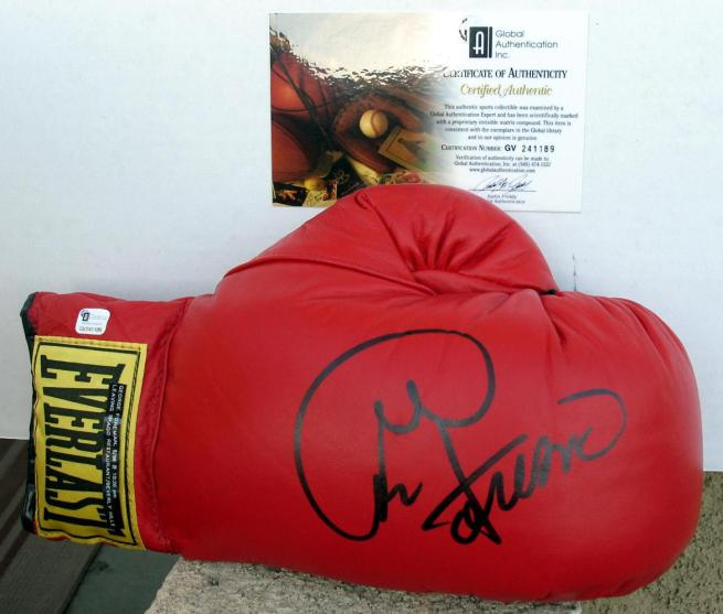 George Foreman signed boxing glove at www.substancecollectables.com