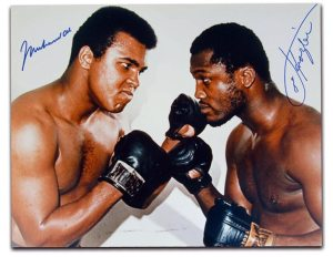 Ali Joe Frazier signature picture at www.substancecollectables.com