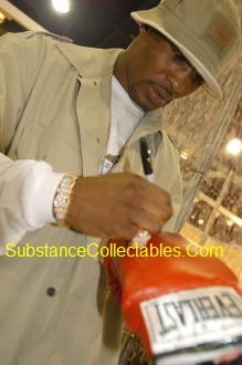 Bernard Hopkins Autograph Boxing Gloves Signing at www.substancecollectables.com